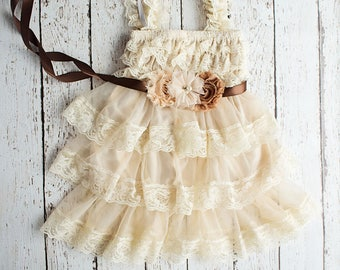 Flower Girl Dress, Wheat Lace Dress- Brown Sash,  Rustic Flower Girl Dress, Tan Flower Girl Dress, Lace Dress, Thanksgiving Outfit