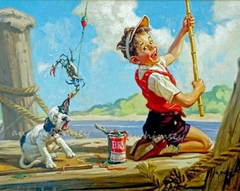 """Boy's Room Art Little Boy and Dog Fishing """"Catching the """"Fish"""" #587"""