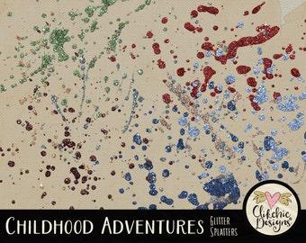 Glitter Clipart - Glitter Digital Scrapbook Clip Art - Glitter Splatter Embellishments - Digital Glitter Clip art Splatters