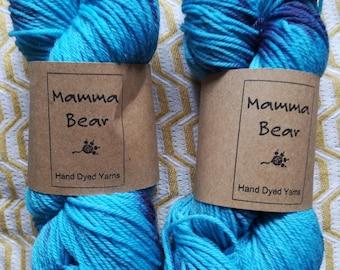 DK Hand dyed yarn super-wash merino/nylon wool. Fades of Denim