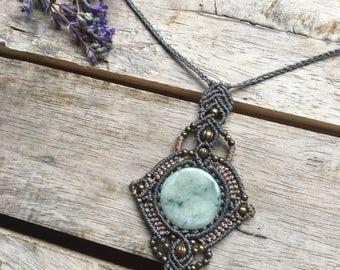 Intricate Jade Macrame Necklace
