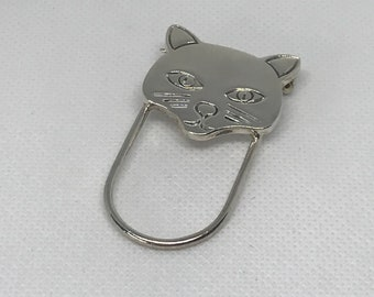 Vintage Mexico 925 Sterling Silver Cat Face Eye Glass Holder Pin
