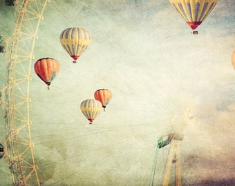 photo print, photography print, home decor, large size wall art, hot air balloons, dreamy surreal red yellow London eye
