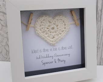 2 year anniversary, 2nd wedding anniversary gift, 2nd anniversary gift, 2nd anniversary for him ,cotton anniversary gift, personalised frame