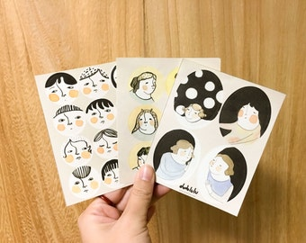 Stickers - faces and girls illustration