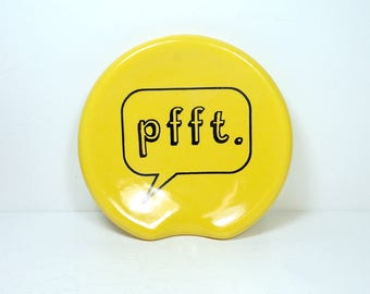 "handle-less spoon rest / spoon dish with ""pfft"" word bubble print on Lemon Butter Yellow  READY to SHIP"