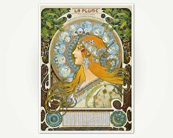 La Plume Vintage Mucha French Art Nouveau Poster Print - Mucha Art Print - Art Nouveau Poster Art