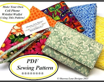 women's wallet sewing pattern, digital sewing pattern, tutorial, sew your own wallet, cell phone accessory, handbags, purses, craft supplies