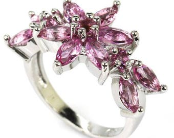 Sterling Silver Pink Tourmaline Gemstone Ring Size 6.5
