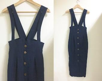 High waisted maxi suspender skirt dark blue