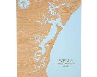 Wells Chart - 12x16 | Wells Beach Chart | Wood Wall Art | New England Gifts | Wells Maine | Wall Art | Nautical Decor | Made in Maine