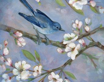 BLUEBIRD, Bluebird and Blossoms #1  Print, bird art, Bird art print, Bird and Flowers, Gift for Mom, Floral wall decor, Bird wall art
