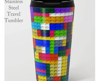 Lego Coffee Tumbler-Stainless Steel Travel Mug-Insulated Coffee Mug-Metal Tumbler-15 oz Tumbler-Fun Coffee Mug-Insulated Travel Mug