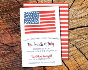 Printable // Fourth of July // Cookout // BBQ // Pool Party // Independence Day // July 4th // Postcard // Invitation // Watercolor