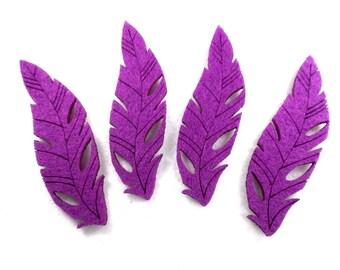 4 feathers, felt, 8 x 2.5 cm ** COLOR CHOICE **