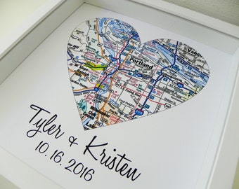 First Anniversary Gift Paper Gift Map Heart Art FRAMED Any Location Worldwide One Year Gift 1st Anniversary Valentines Day Gift