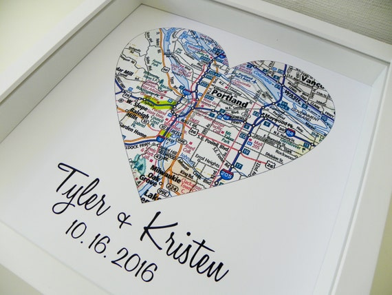 First anniversary illustration ~ First anniversary gift paper gift map heart art framed any