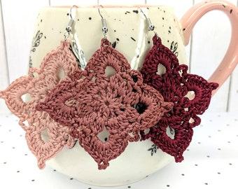 Dark Dusty Rose/Burnt Rose, Earrings, Crochet Earrings, Feather Weight Earrings, Lightweight Earrings, Wedding Earrings