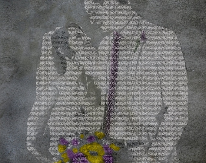 Custom Canvas or Paper Wedding Decoration Or Anniversary Text Art Gift 16x20