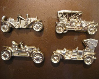 "Set/4 Gold ANTIQUE CAR MAGNETS 2.25"" Vintage 1970s Hong Kong Collector American Automobile Roadster Model A Touring Model T Father's Day 829"