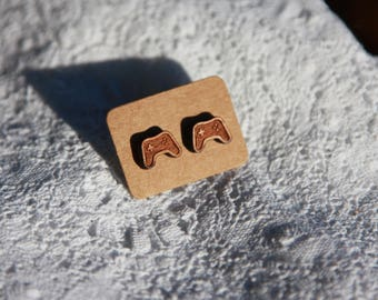 Game controller earrings, laser cut wooden stunds