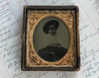 Daguerreotype Little Girl in Hat Tin Type