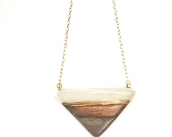 handmade porcelain jewelry large triangle pendant necklace geometric modern in gold glaze and 22k gold accent