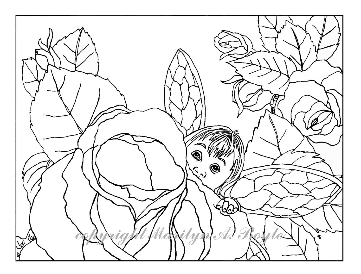 ADULT COLORING PAGE - digital download - Fantasy; baby fairy, roses ...