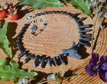 Hematite gray wolf necklace, werewolf jewelry strega raw crystal necklace, dark mori witch talisman primitive jewelry, Fenrir pagan necklace