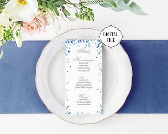 Printable Menu, Winter menu, wedding menu, confetti menu, blue wedding menu, printable wedding menu, blue menu, royal blue menu, winter