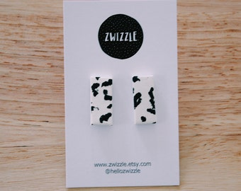 Polymer clay earrings - scribble bar studs - black and white