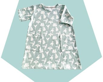 Organic dress – girls – short-sleeved dress – organic cotton – pockets- origami birds