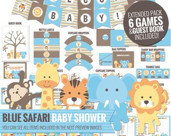 Blue Safari Baby Shower Decorations Package - Printable Jungle Theme Baby Shower Decor - Cute Funny Boy Baby Shower - Digital Download