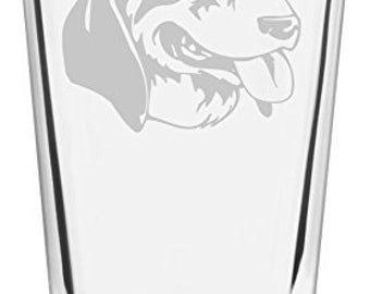 Grand Anglo Francais Blanc et Noir Dog Themed Etched All Purpose 16oz Libbey Pint Glass