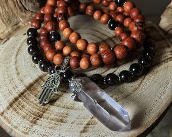 GARNET Mala Beads   Clear Quartz Necklace   108 Mala Beads Japa Mala   Unisex Mala Necklace, Yoga Meditation Prayer Beads Rosary, Mayan Rose