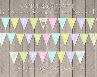 Happy Easter, Spring, Blessings Banners/Pendants/ Flags, Printable  Banner, DIY-Easter Printable Decor *Instant Download*