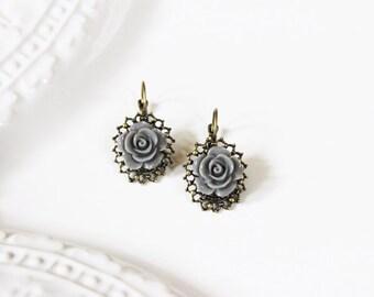 Gray Rose Earrings