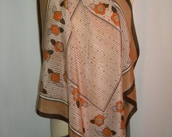 Vintage 1960's Brown/Tan & Orange Silk Scarf