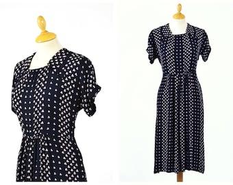 Vintage 1940s black floral print rayon dress - size L