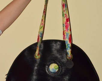 Vintage David Jones Ladies Retro Hobo Funky Black Big Size Handbag