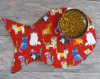 Cat Placemat - Cat Food Placemat - Cats In Hats Placemat - Fish Placemat - Cat Mat - Pet Food Mat - Cat Lover Gift