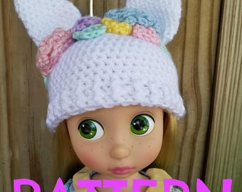 Crochet Bunny Flower Crown Hat PATTERN for Disney Animator Dolls, Disney Animator Doll Clothes, Easter Hat, Animal Hat, 16 inch Doll Clothes