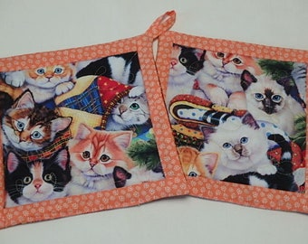 Cats Quilted Potholders 2,  Fabric Hotpads Set of 2, Unique Handmade Pot holders Gift