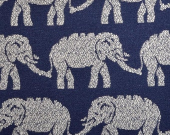 Elephant Upholstery Fabric -  Modern Navy Blue Fabric - Animal Design - Woven Heavyweight Furniture Material - Elephant Pillow Covers