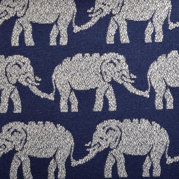 Elephant Upholstery Fabric Modern Navy Blue Fabric Animal