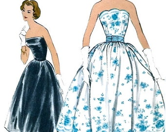 UNCUT * 1950s  Vogue  Pattern 9246 -  GLAMOROUS  Strapless Evening Two-Piece Dress Evening Gown   // Size 14 * Bust 34