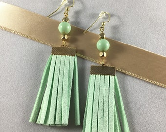 Light Turquoise and Gold Tassle Drop Earrings