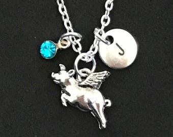 Personalized Flying Pig Necklace Flying Pig Jewelry