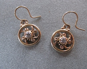 14Kt Gold Circle Swirl Diamond Earrings, April Birthstone
