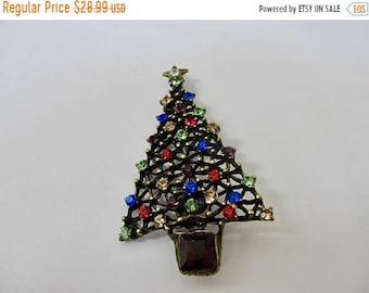 ON SALE SWEET Romance Colorful Rhinestone Christmas Tree Pin Item K # 1539